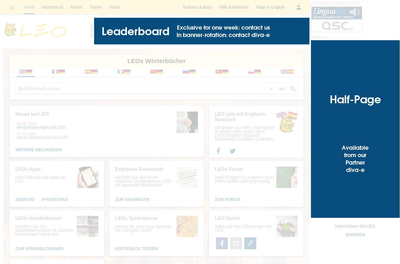 Spanisch Deutsch Wörterbuch Leoorg Werbung Auf Leo