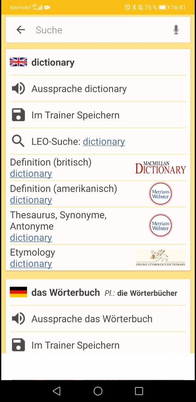 Spanisch ⇔ Deutsch Wörterbuch   leo.org Android App Anleitung ...